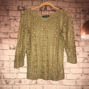 Ralph Lauren RARE metallic gold cable sweater S M
